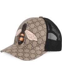 Gucci Bee Print GG Supreme Baseball Hat - Natural