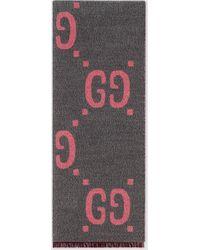 Gucci - 【公式】 (グッチ)GGジャカード ウールシルク スカーフライトグレー/ピンク GGジャカードグレー - Lyst