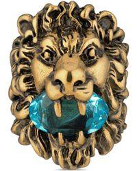 Gucci Bague tête de lion avec cristal - Métallisé
