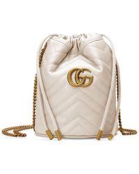 Gucci GG Marmont Mini Bucket Bag - White