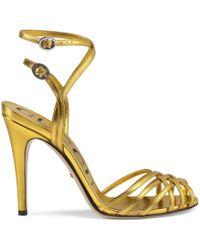 ec9439981e2cad Lyst - Gucci Leather T-strap Sandal in Metallic