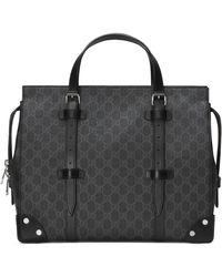 Gucci Cabas GG avec détails en cuir - Noir