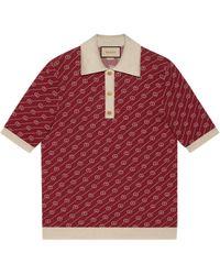 Gucci Pullover aus Seide mit Polokragen und diagonalem GG - Rot