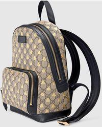 Gucci Rucksack aus GG Supreme mit Bienen - Natur