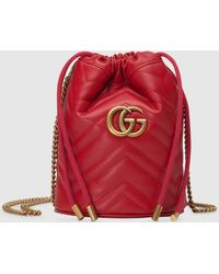 Gucci Mini 'GG Marmont' Beuteltasche - Rot