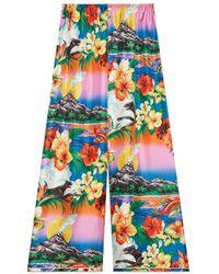 Gucci Hawaiian Print Silk Pajama Pant - Green