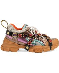 adcc8a4c96c63 Gucci - Multicoloured Metallic Flashtrek Removable Crystal Trainers - Lyst