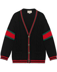 Gucci Oversize Cable Knit Cardigan - Black