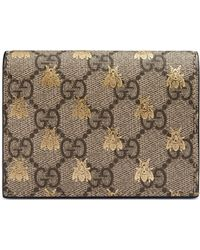 Gucci - GG Supreme Bees Card Case Wallet - Lyst