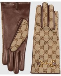 Gucci Handschuhe aus GG Canvas mit Horsebit - Natur