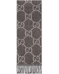Gucci Strickschal aus GG Jacquard mit Quasten - Grau