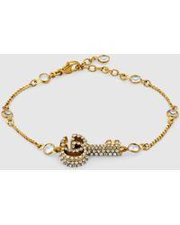 Gucci - Doppel G Schlüssel Armband mit Kristallbesatz - Lyst