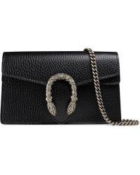 Gucci Dionysus Super Mini Tasche aus Leder - Schwarz