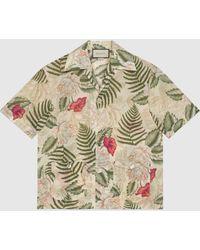 Gucci Bowling Shirt mit hawaiianischem Print - Weiß