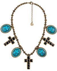 Gucci Collier à motif camée et pendentifs croix - Bleu