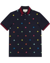 Gucci - Cotton Polo With Bees And Stars - Lyst