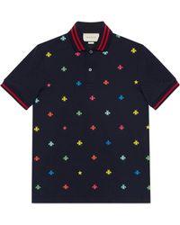 Gucci - Poloshirt aus Baumwolle mit Bienen und Sternen - Lyst