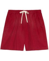 Gucci Shorts aus canvas mit tier-stickerei von freya hartas - Rot