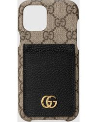 Gucci 【公式】 (グッチ)〔GGマーモント〕オンライン限定 Iphone 12/12 Pro ケースGGスプリーム&ブラック レザーベージュ - ナチュラル