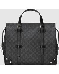 Gucci GG Shopper mit Lederdetails - Schwarz