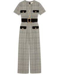 Gucci - Prince Of Wales Wool Jumpsuit - Lyst