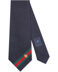 Gucci - Cravatta in seta con dettaglio Web e ape - Lyst