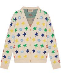 Gucci Cárdigan de lana con estrellas - Blanco