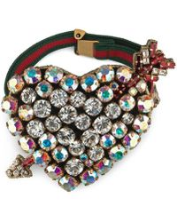 Gucci - Web Bracelet With Crystal Heart - Lyst