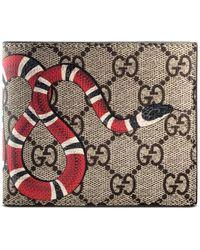Gucci - Snake Print Gg Supreme Wallet - Lyst