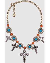 Gucci Kreuz- und Blumen-Halskette mit Kristallen - Mehrfarbig