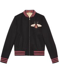 Gucci - Felt Jacket With Bee Patch - Lyst