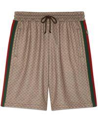 Gucci Shorts aus Mini GG Jersey mit Web - Braun