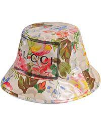 Gucci Sombrero Cubo con estampado floral - Blanco