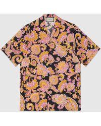 Gucci Bowling Shirt aus Leinen mit Paisley Print - Pink