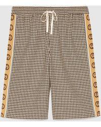 Gucci Shorts mit Hahnentrittmuster und GG Streifen - Schwarz