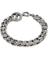 Gucci Bracelet chaîne en argent double G - Métallisé