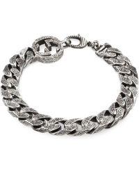 Gucci Bracciale GG con catena in argento - Metallizzato