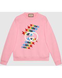 Gucci グッチ公式インターロッキングg スターフラッシュ プリント コットン スウェットシャツ ピンクcolor_descriptionウェア