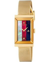 c23abf1cbe6 Lyst - Gucci G-frame Fabric Strap Watch in Green - Save ...