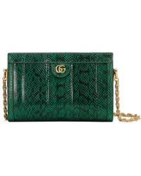 Gucci Ophidia Small Snakeskin Shoulder Bag - Green