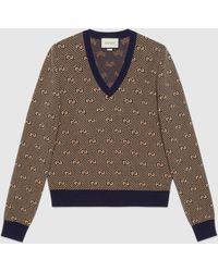 Gucci - 【公式】 (グッチ)GGストライプ ウール Vネック セーターダークブルー&キャメルブラウン - Lyst