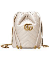 Gucci Mini borsa a secchiello GG Marmont - Bianco