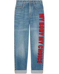 """Gucci '80s Fit Denim Pants With """"my Body My Choice"""" - Blue"""