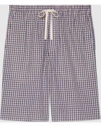 Gucci 【公式】 (グッチ) カリフラワー付き ミニチェック ショートパンツブルー&レッドブルー