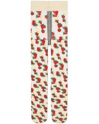 Gucci Tights With Strawberry And Horsebit Print - White