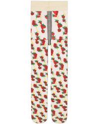 Gucci Collant con stampa Strawberry e Morsetto - Bianco