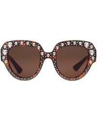 8ee101bbb51f Gucci - Square-frame Acetate Sunglasses With Crystals - Lyst