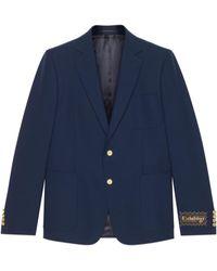 Gucci Chaqueta de lana de botonadura sencilla - Azul