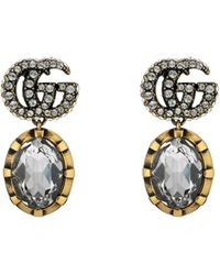 Gucci Double G Earrings With Crystals - Metallic