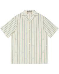 Gucci Bowling Shirt aus gestreifter Baumwolle mit Doppel G - Weiß